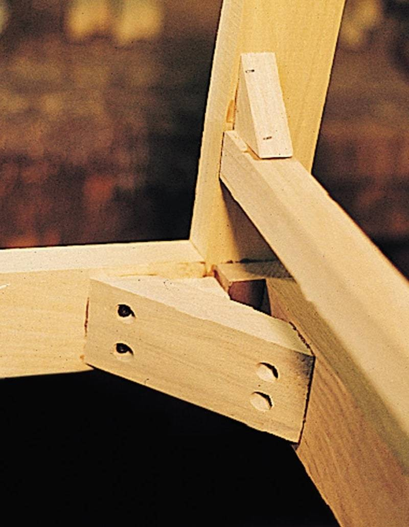 Corner brackets in a Sherrill furniture piece