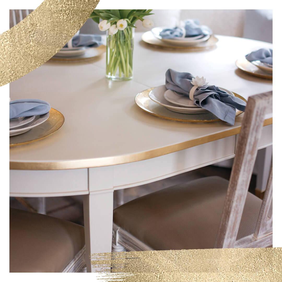 Jolie Metal Leaf on a Swedish Grey table