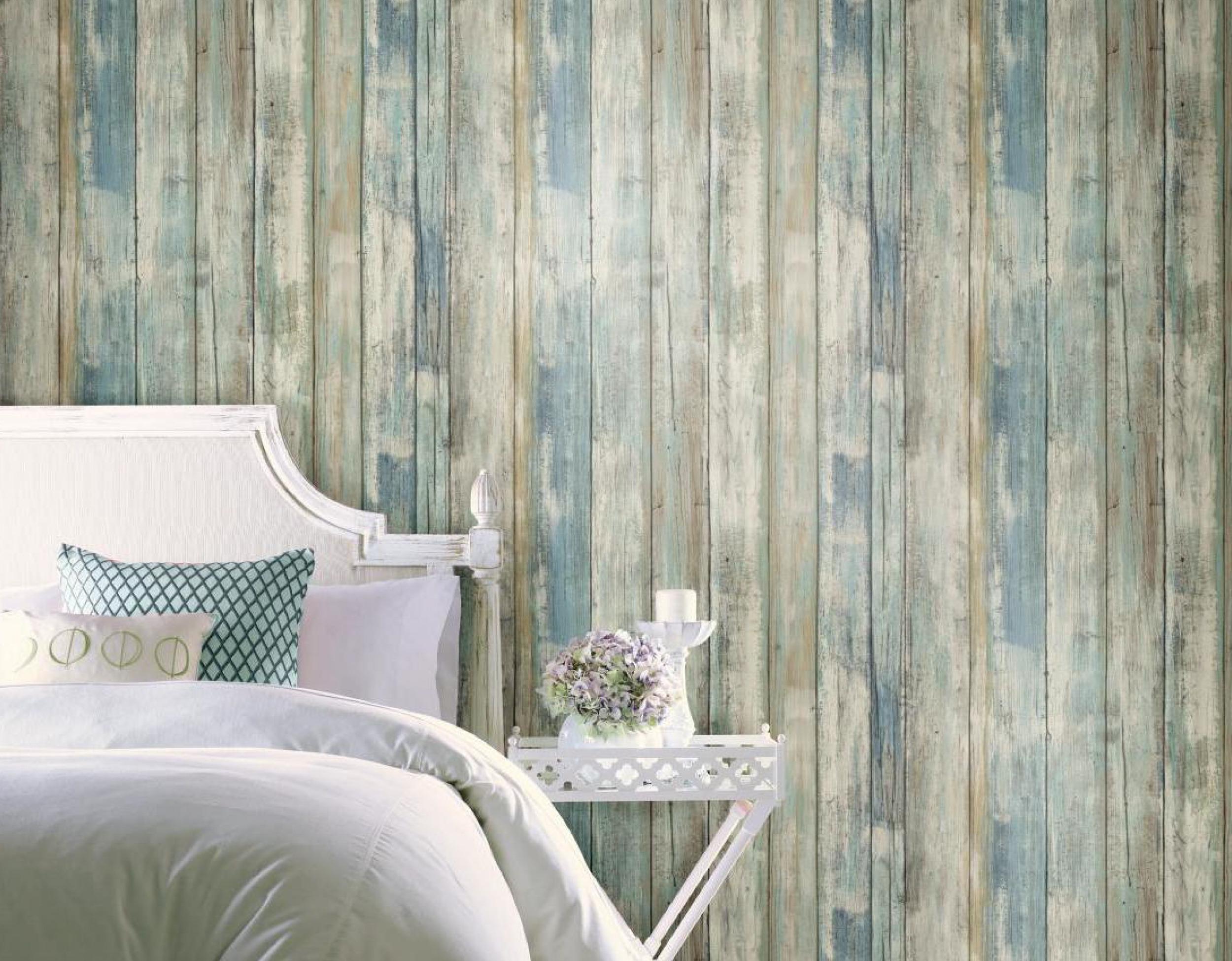 Aqua Distressed Wood Wall Plank Peel Stick Wallpaper