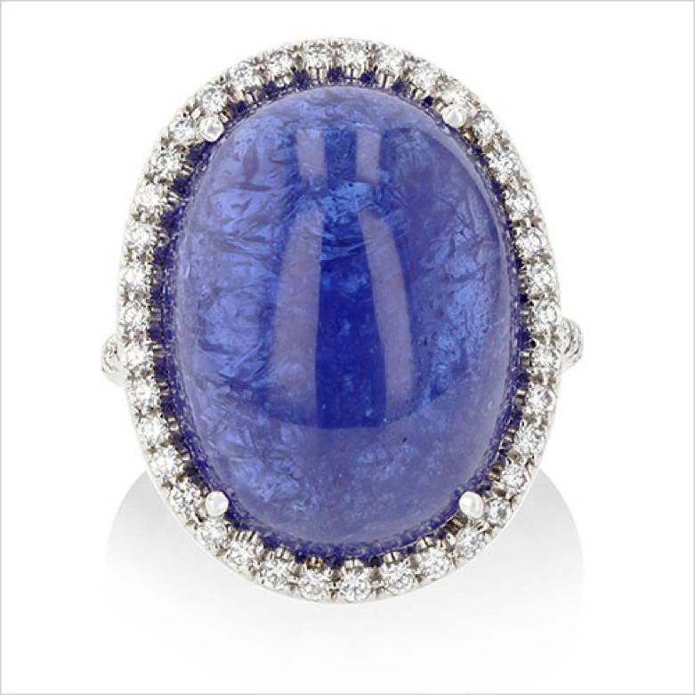 Cabochon Cut Tanzanite and Diamond Ring