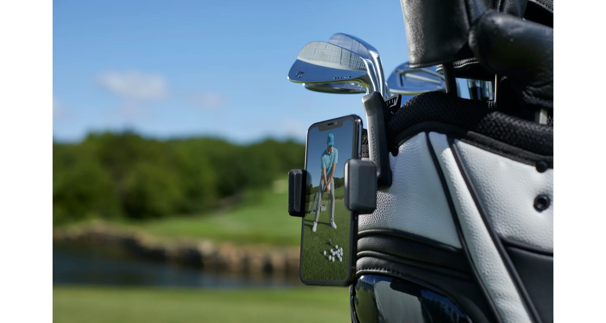 Garmin phone clip that comes with the Approach R10 golf launch monitor