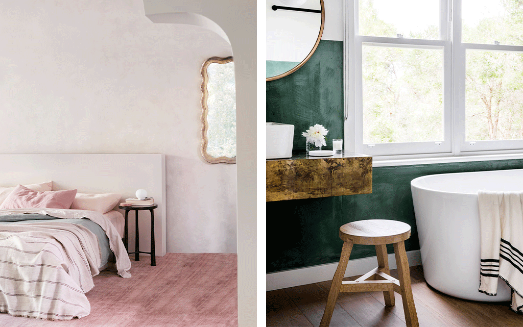 Left: CULTIVER linen bedding. Right: Photo of Kate Dinon's Balnarring home by Rhiannon Taylor Right: