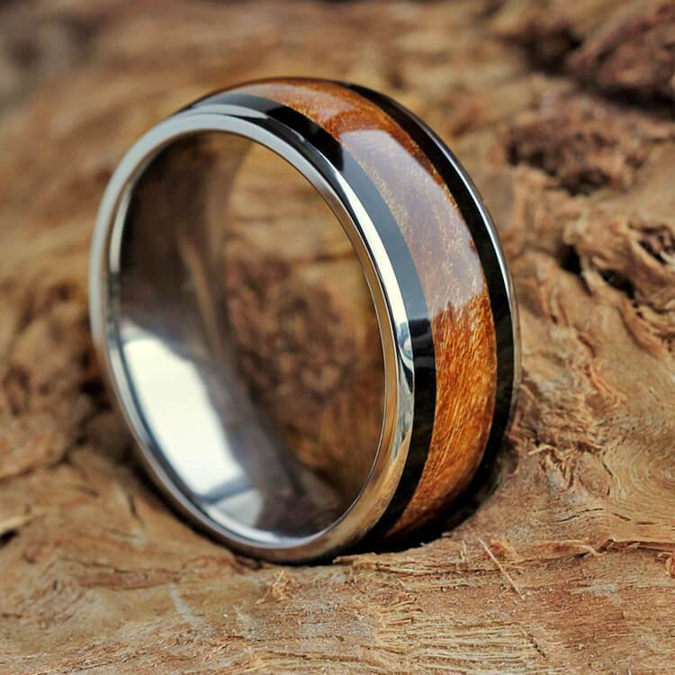 Wood Wedding Band, African Blackwood Ring