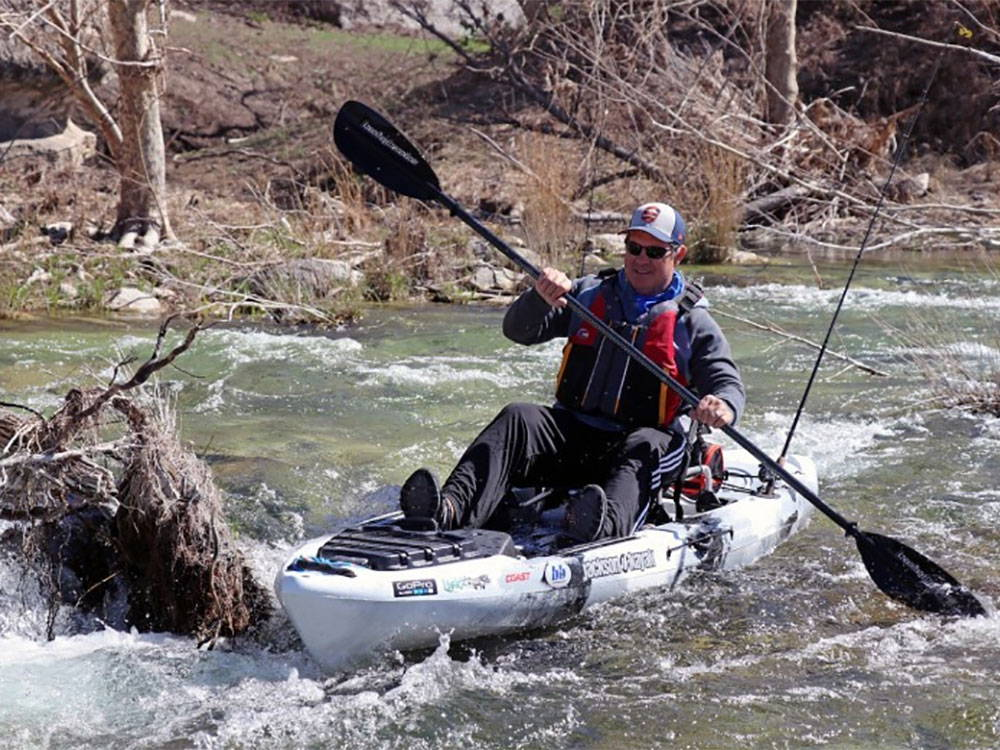 Catching fish on a sit on top kayak
