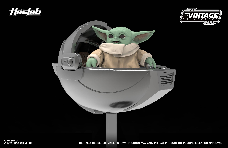 Baby Yoda in pram.