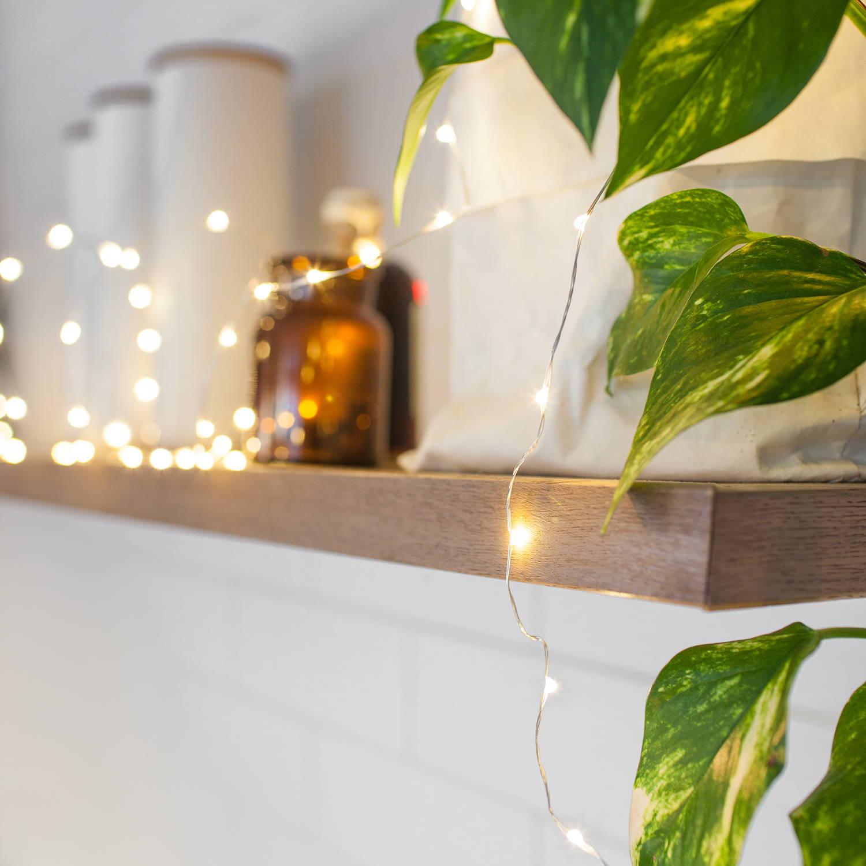 Micro lights displayed along shelf edge and illuminated