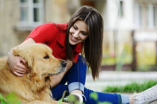 A girl with brown hair in a red shirt sitting in the grass with her golden retriever