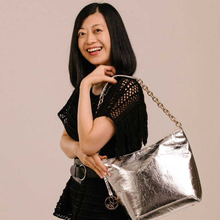pinatex silver handbag vegan fashion designer