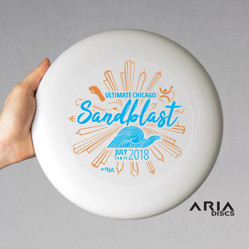 ARIA professional official ultimate flying disc for the sport commonly known as 'ultimate frisbee' chicago sandblast tournament