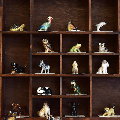 Animal figurines.
