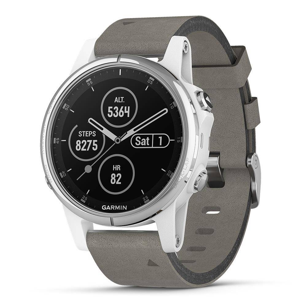 Garmin fenix 5S Plus Sapphire White with Gray Suede Band