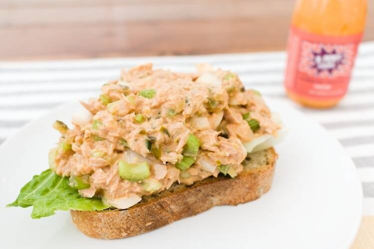 tuna salad with kimchi mayo sauce