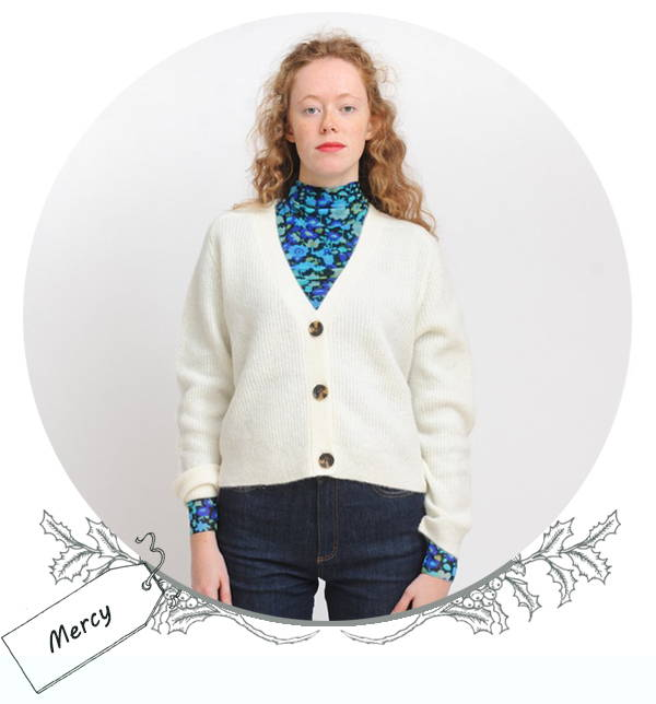 Ganni Soft Wool Cardigan in Egret