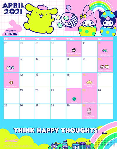 Sanrio's April Friend of the Month Calendar!
