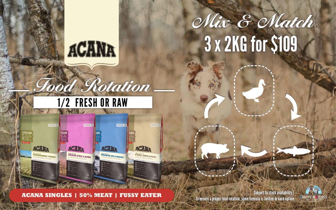 pawpy kisses acana singles dog food food rotation promotion