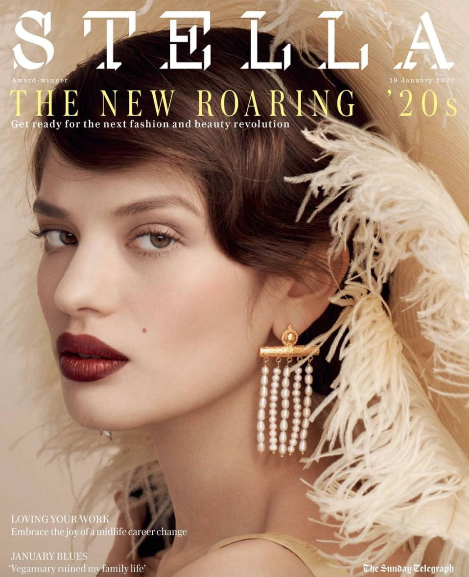soru jewellery on Stella front cover, soru in Stella magazine, soru juno earrings Stella magazine, soru pearl earrings