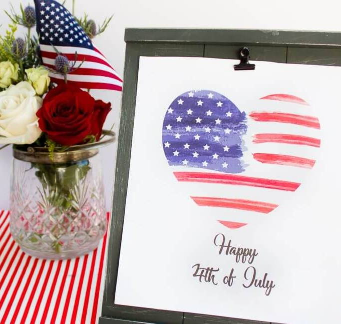 watercolor heart 4th of july quote printable