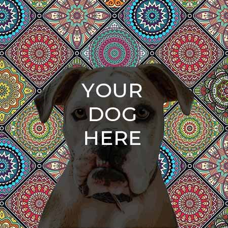pop your pup pop art example on Mosaic background