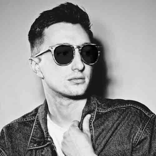 Male model wearing mens round sunglasses
