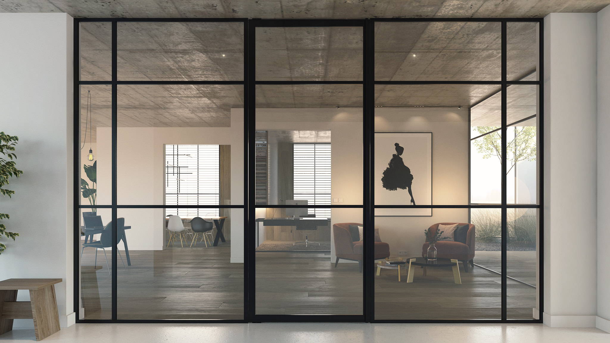 Glass pivot door with fixed glass partitions