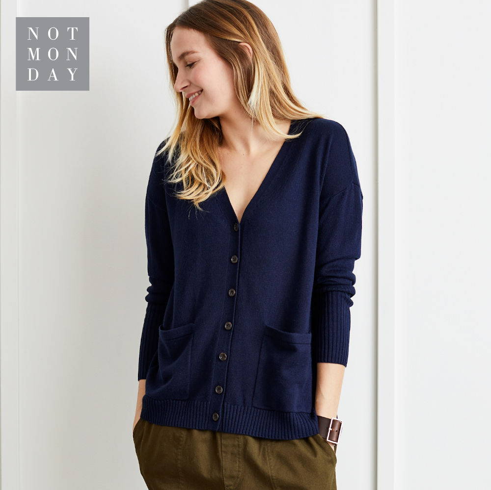 Leighton Boyfriend Cardigan in Navy.  Not Monday