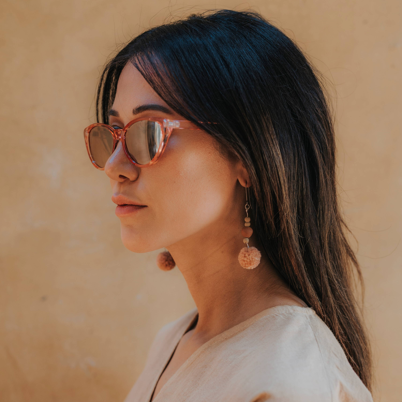 Blush Pom Earrings