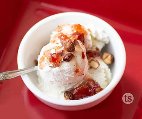 ice cream with apple berry sauce