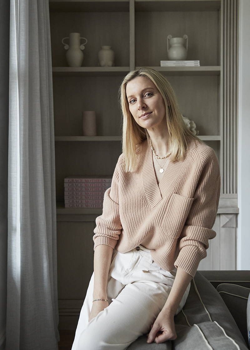The Grace Tales, Georgie Abay, in Oroton,  Blush Pink Knit V Neck