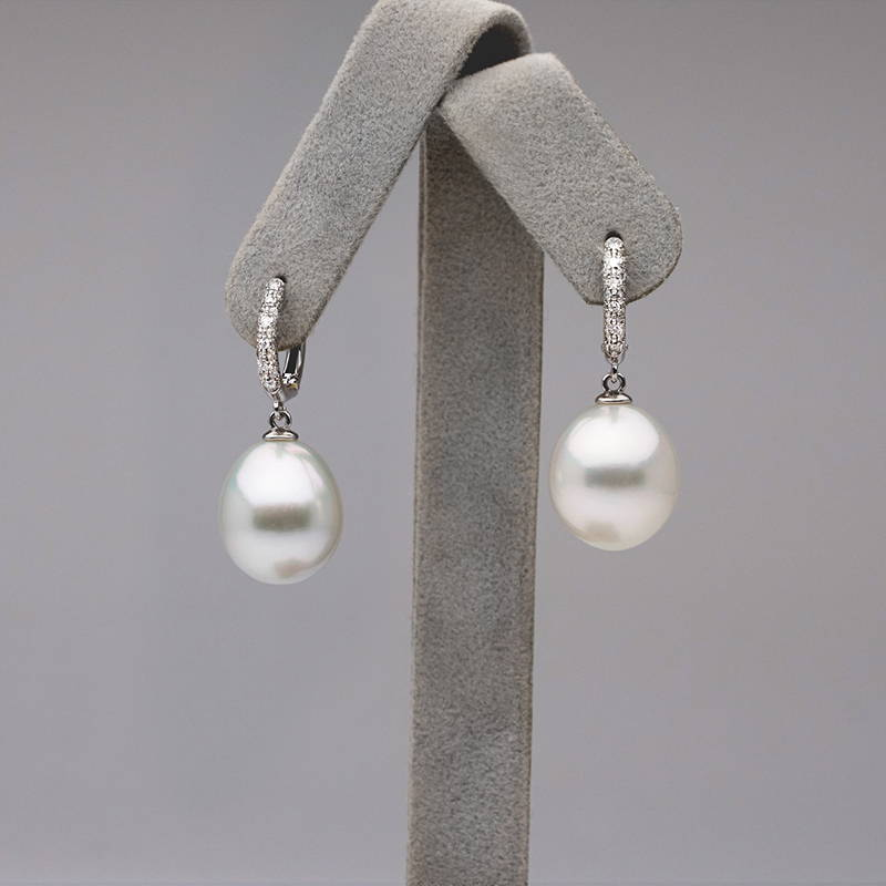 Custom Design Pearl Jewelry - Diamond and Pearl Tear Drop Earrings