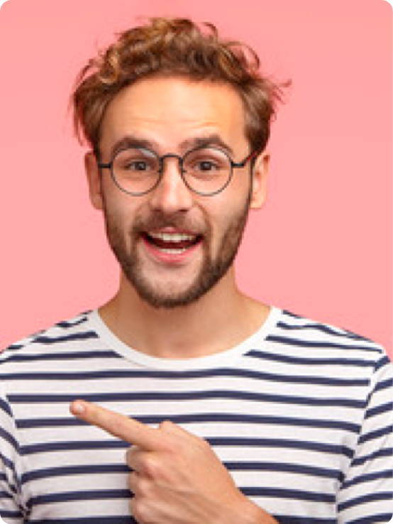 Man With Stripey Shirt Pointing