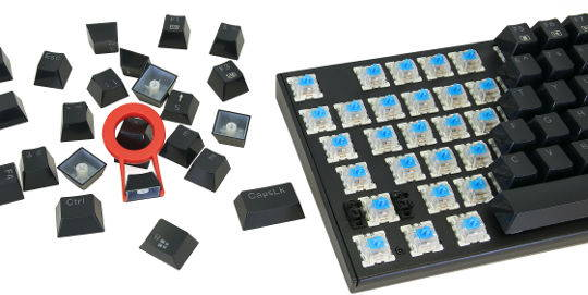 Keycaps, keycap puller and keyboard switches