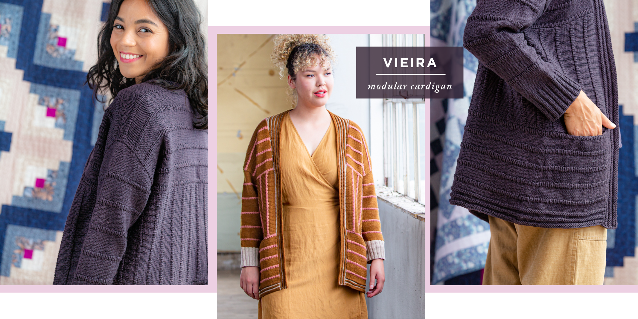 Three images showing shoulder, front and side/pocket views of Vieira: modular cardigan