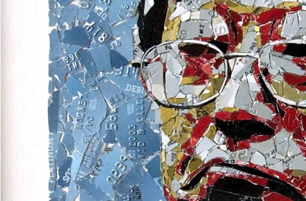 Nakamoro portrait by cryptograffiti made of repurposed credit cards at Art Acacia Blog