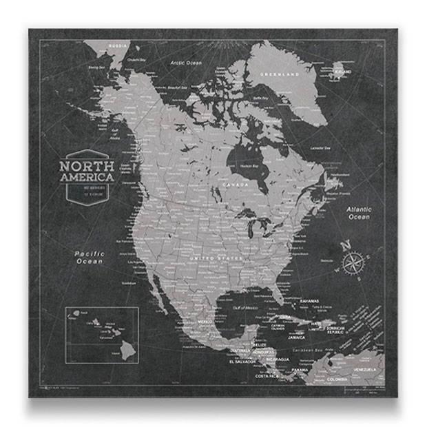 North America Map Pin Board Modern Slate