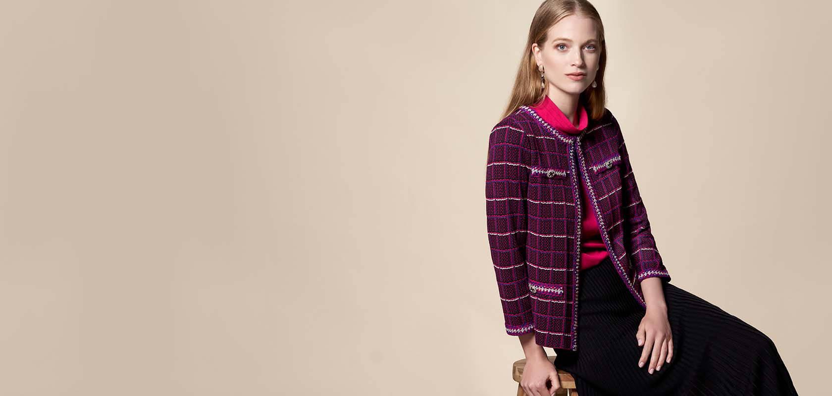 Crochet Accent Check Knit Jacket   Misook