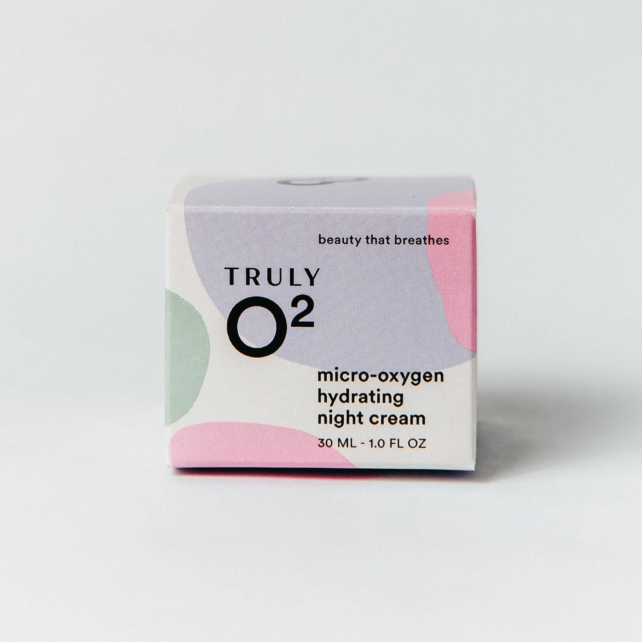 Truly O2 micro-oxygen hydrating night cream 1oz face cream box