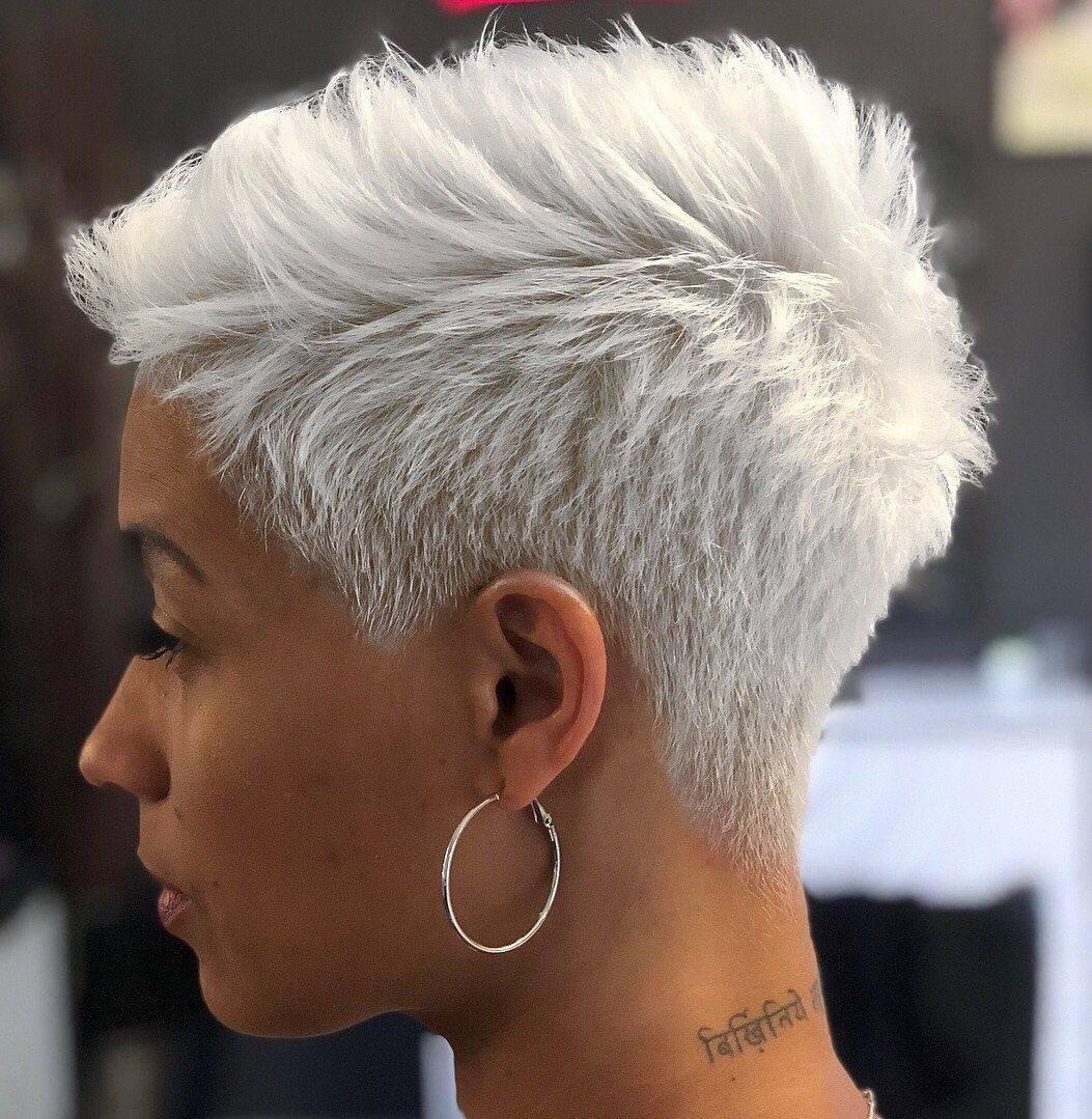 Grey Pixie Hair Cut