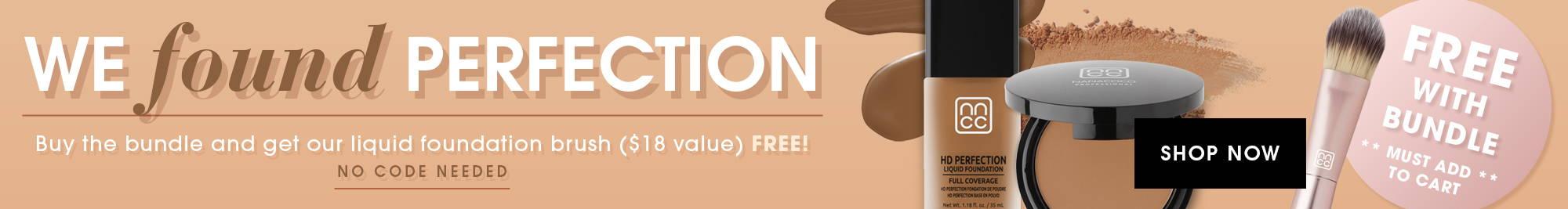 Nanacoco Professional HD Perfection Powder and Liquid foundation bundle with free liquid foundation brush