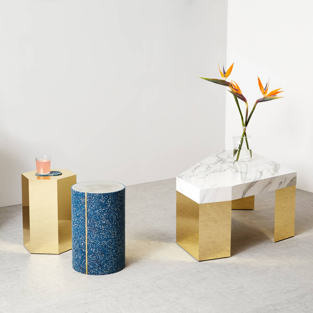 A rubber CYL Side Table, alongside the GEM Table by Slash Objects