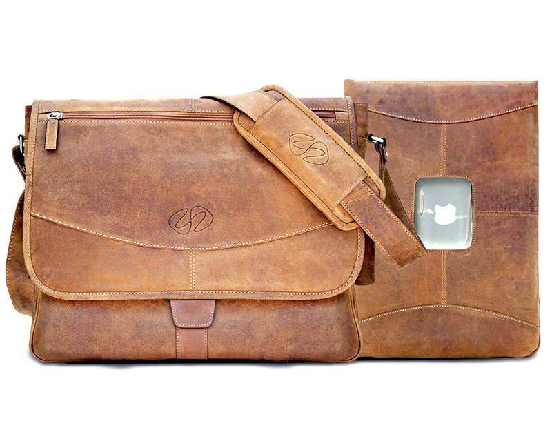 distressed vintage mens leather messenger bag and 15