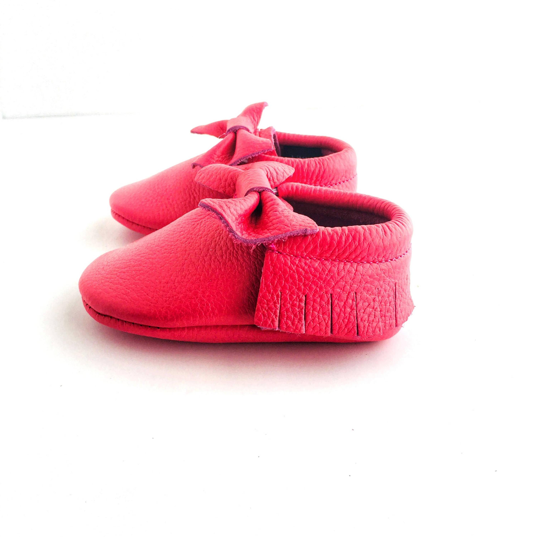 Bow Baby Soft Sole Shoe Melon Pink Colour sole view