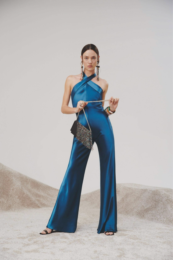 Galvan London Satin Criss-crossed Neckline Blue Jumpsuit