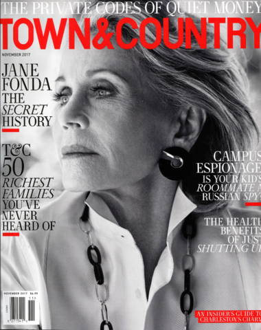 Town & Country magazine cover with Jane Fonda, serious face and black and white