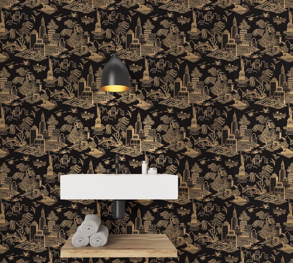 These moder motifs make the perfect wallpaper accent wall.