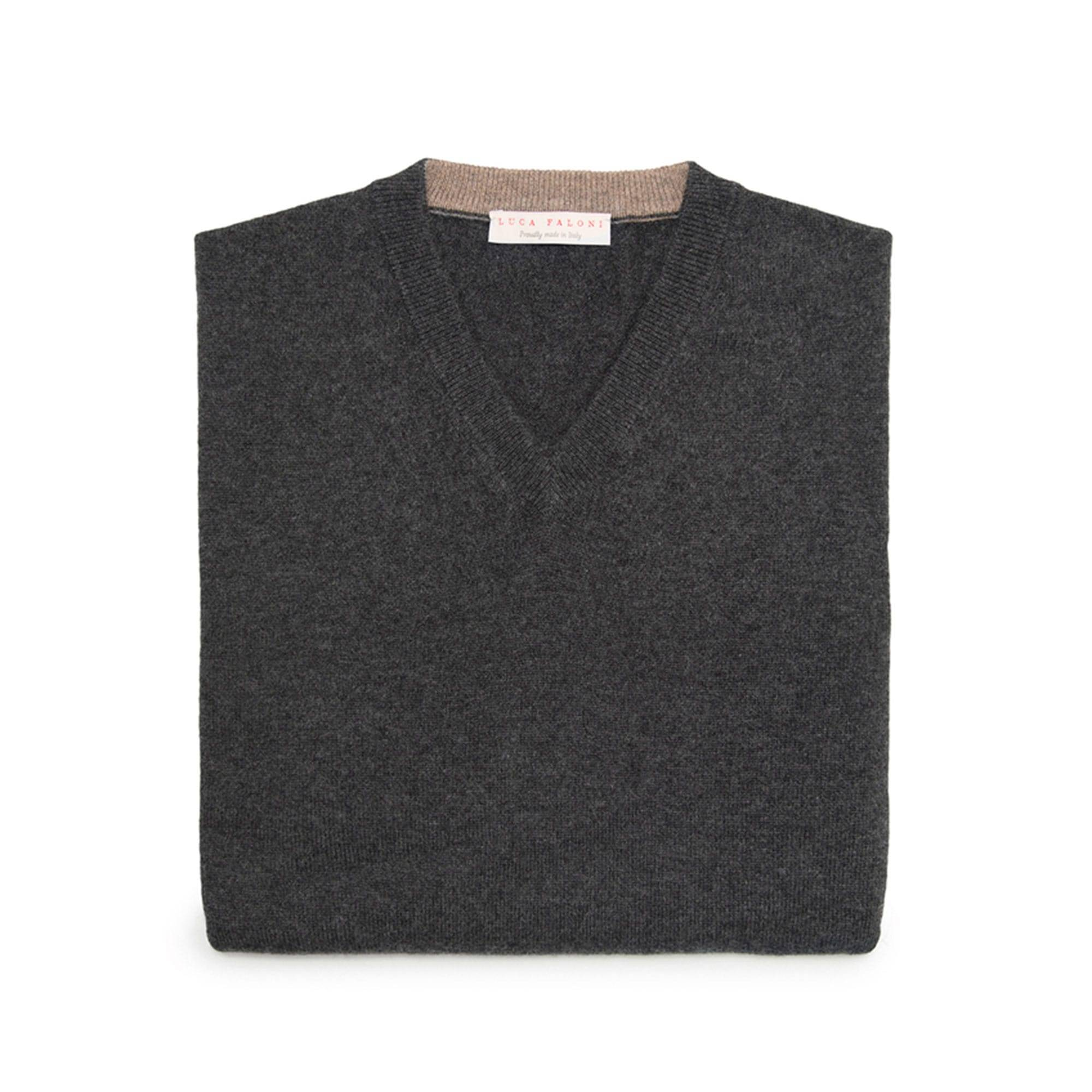 Luca Faloni Dark Grey Pure Cashmere V Neck Made in Italy