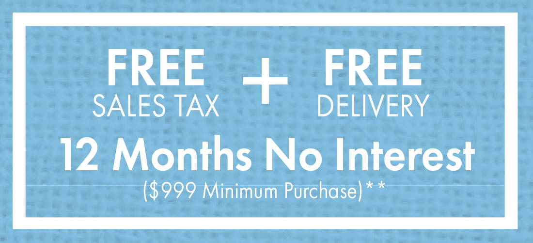 Free Sales Tax + Free Delivery + 12 Months No Interest