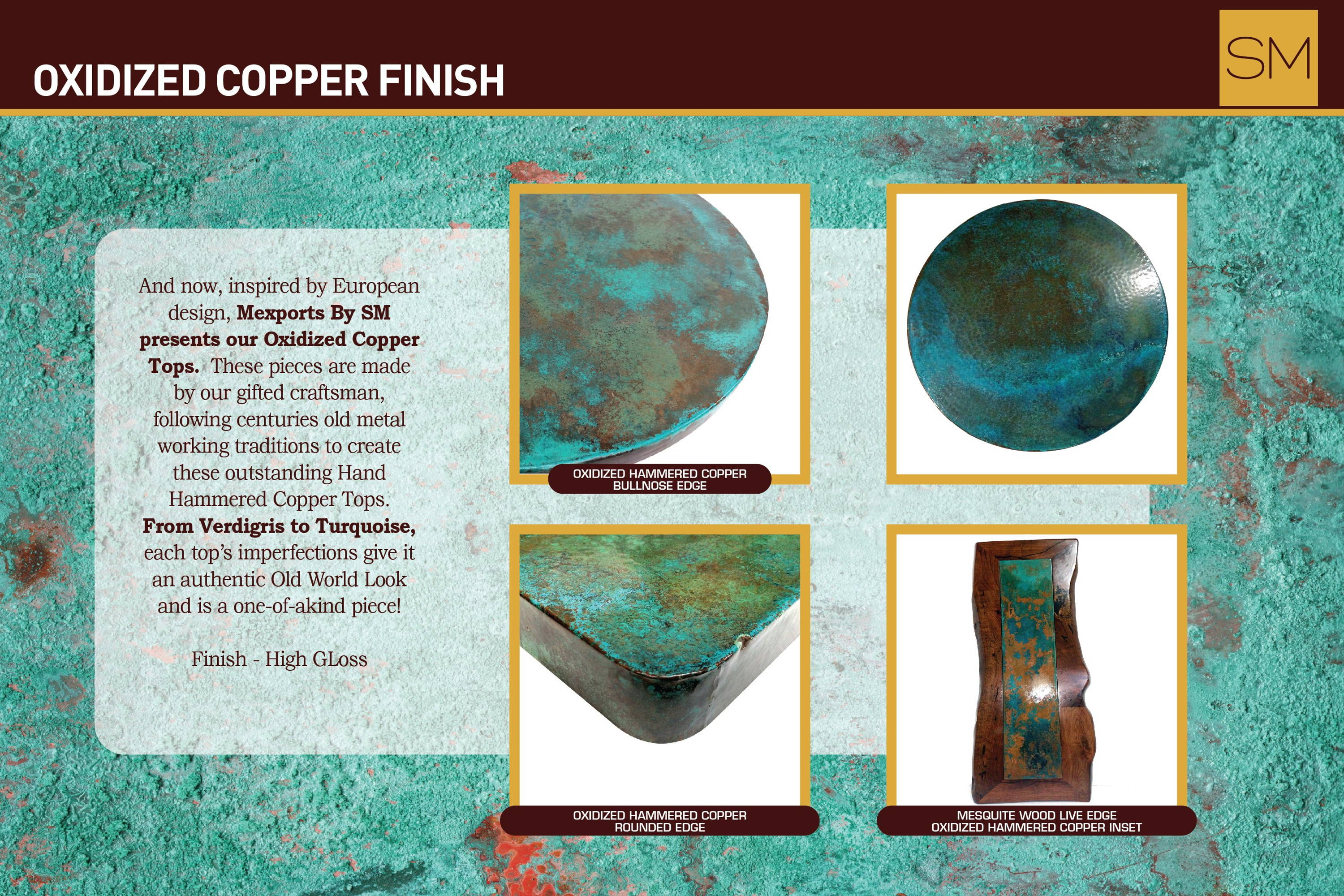 Oxidized hammered copper with bullnose edge, oxidized hammered copper rounded edge, mesquite wood live edge with oxidized hammered copper inset