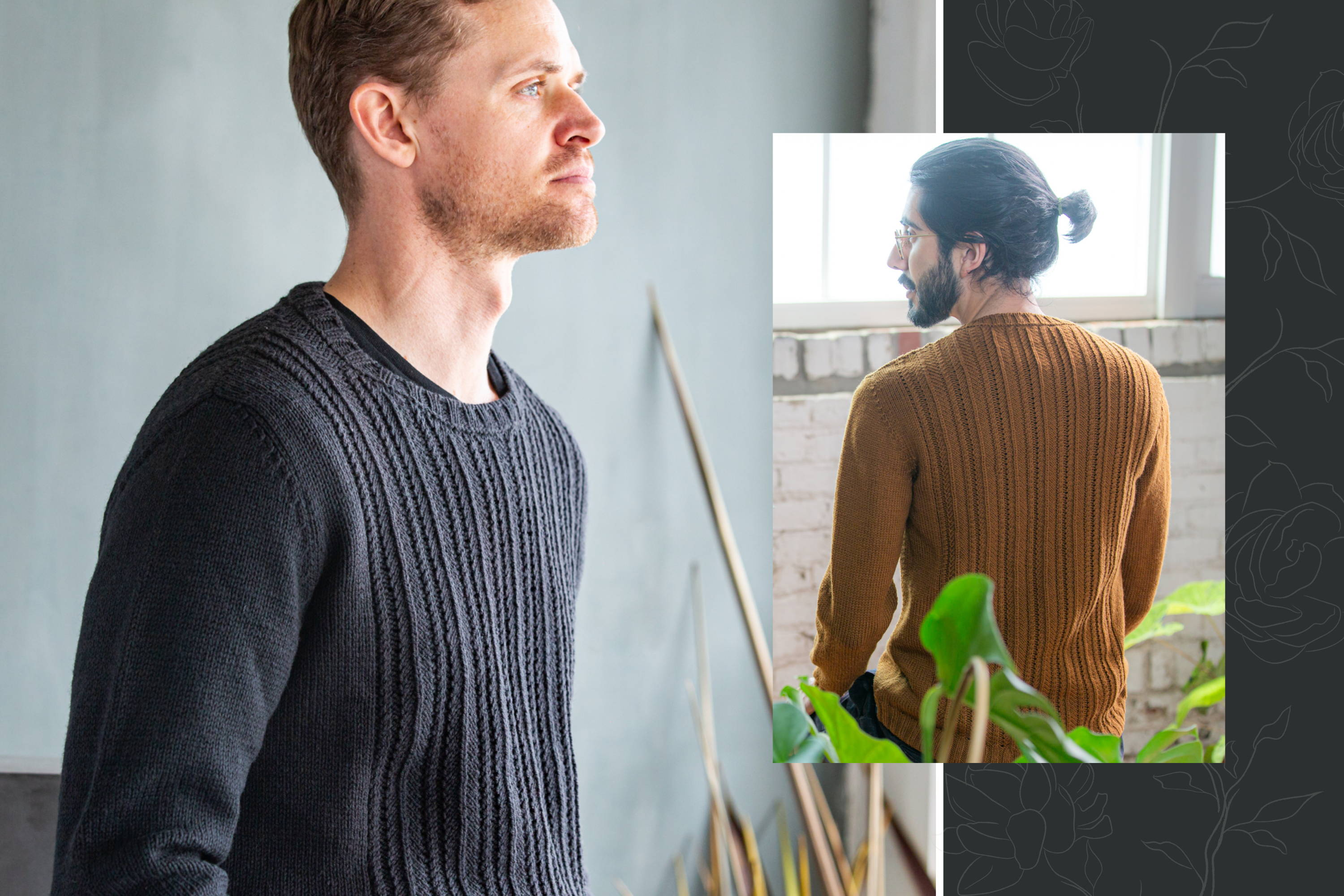Image of Brian modeling Haskins in Porter left, Omar modeling Haskins in Burnished back view right