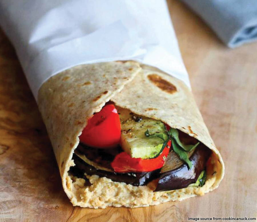 Grilled Vegetable Wrap with Hummus