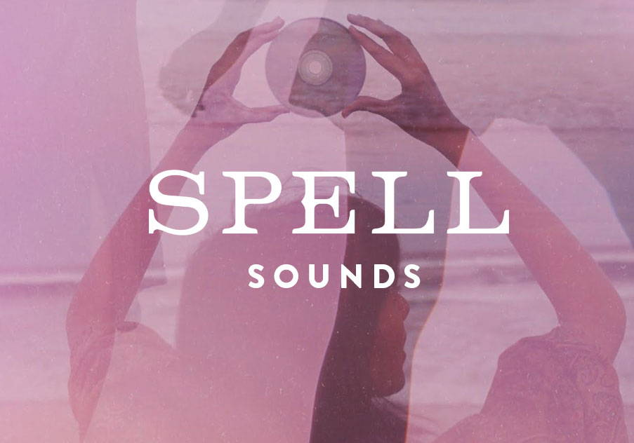 Spell Sounds brand image featuring a girl at the beach told a cd above her head